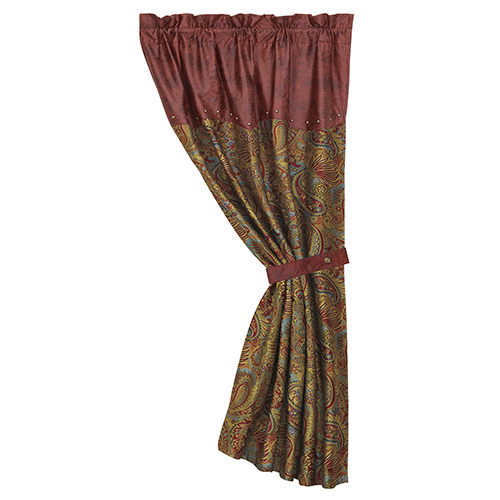 San Angelo Red, Tan and Teal 84 x 48-Inch Curtain Single Panel