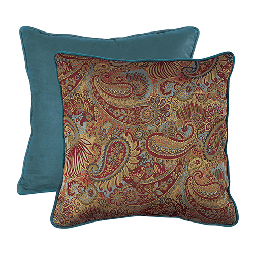 San Angelo Paisley and Teal Reversible Euro Sham