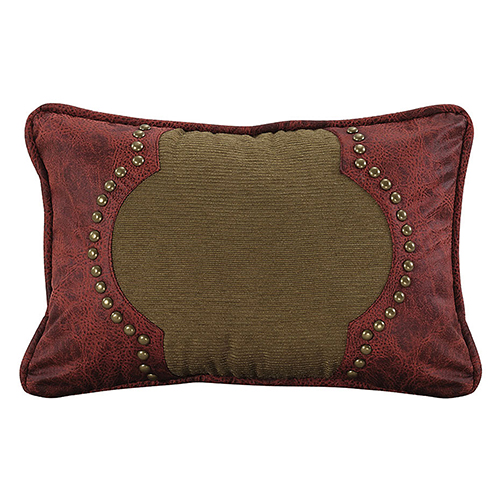 San Angelo Tan and Red Faux Leather 12 x 18 In. Throw Pillow