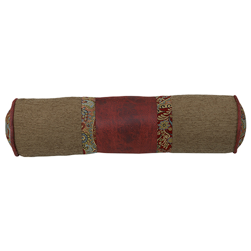San Angelo Tan and Red Faux Leather 7 x 26 In. Neck Roll