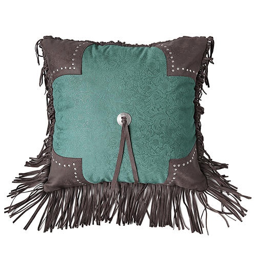 Cheyenne Turquoise 18 x 18 In. Throw Pillow with Scalloped Edge
