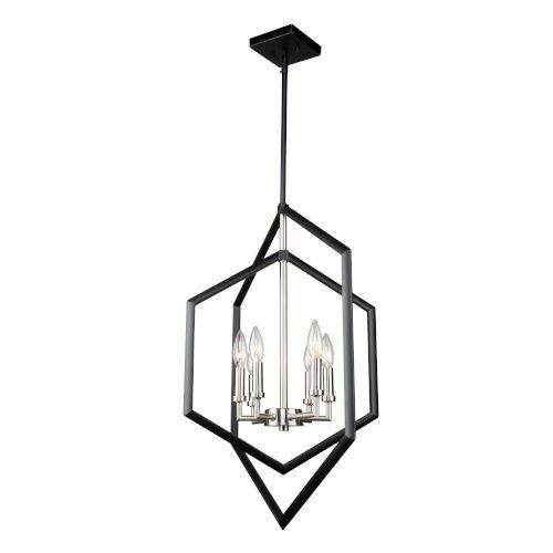 Preston Semi Matte Black and Brushed Nickel Six-Light Pendant