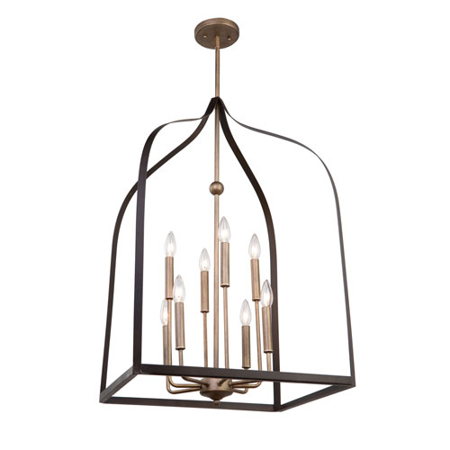 Worthington Oil Rubbed Bronze and Antique Gold Eight-Light Chandelier