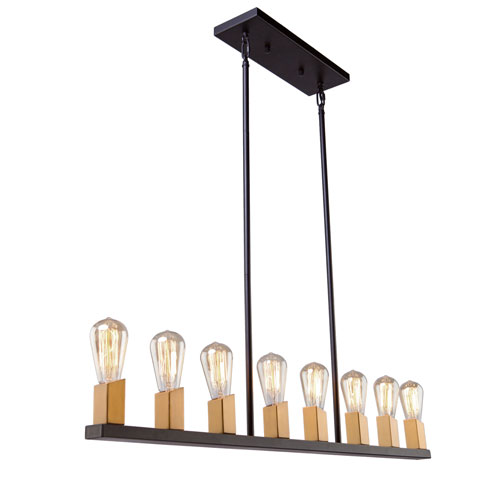 Skyline Dark Bronze and Satin Brass Eight-Light Island Pendant