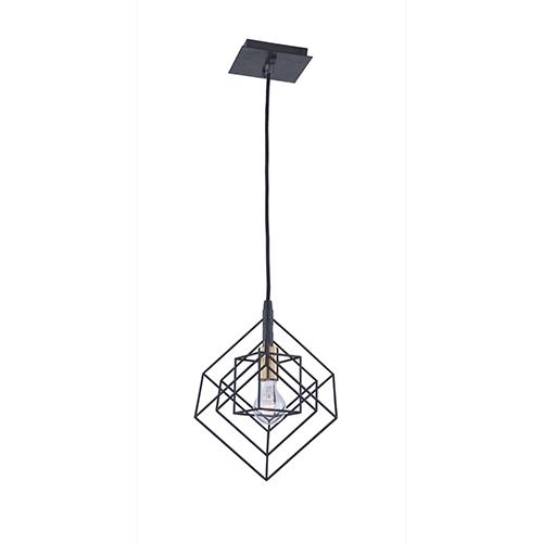 Artistry Matte Black and Harvest Brass 10-Inch One-Light Geometric Mini Mini Pendant