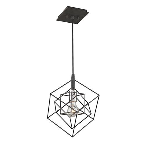 Artistry Matte Black and Harvest Brass 10-Inch One-Light Geometric Mini Pendant