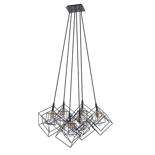 Artistry Matte Black and Harvest Brass 28-Inch Six-Light Geometric Chandelier