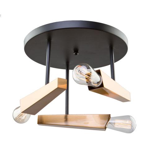 Olympia Black and Satin Brass Three-Light Semi Flush Mount