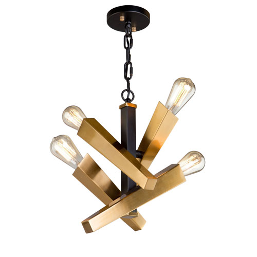 Olympia Black and Satin Brass Four-Light Chandelier
