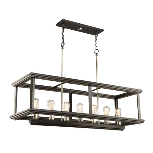 Sandalwood Brushed Nickel 28-Inch Seven-Light Island Pendant