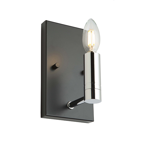 Carlton Matte Black and Polished Nickel One-Light Wall Sconce