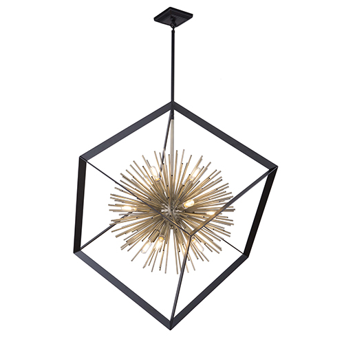 Sunburst Matte Black and Satin Brass 12-Light Chandelier