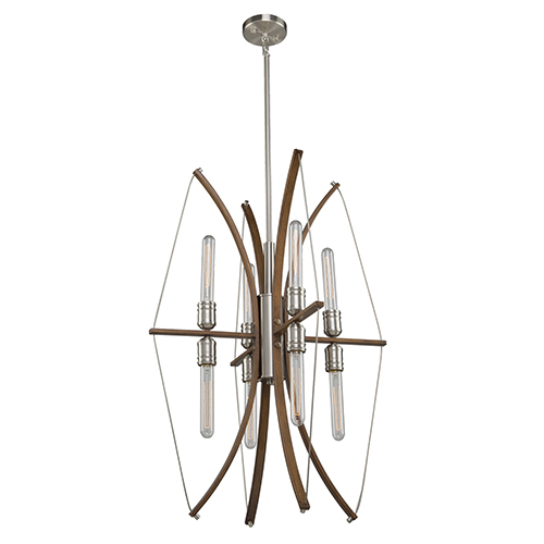Arco Faux Wood and Brushed Nickel Eight-Light Chandelier