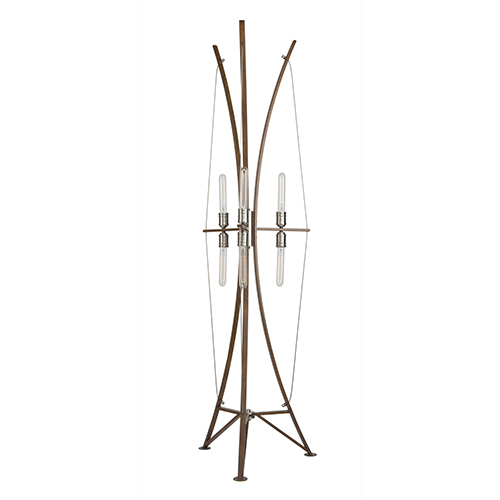 Arco Faux Wood and Brushed Nickel Six-Light Floor Lamp