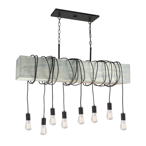 Farmhouse Beach Wood Eight-Light Island Pendant