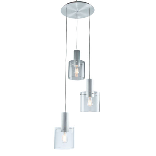 Henley Brushed Aluminum and Clear Glass Three-Light Pendant