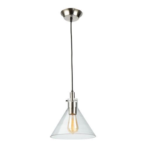Single Satin Nickel and Polished Brass 10-Inch One-Light Mini Pendant with Clear Glass