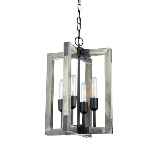 Gatehouse Beach Wood and Black Four-Light Chandelier
