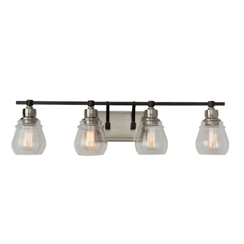 Nelson Black and Brushed Nickel Four-Light Bath Vanity