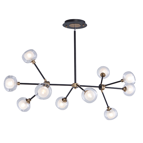 Grappolo Matte Black and Vintage Gold 10-Light LED Chandelier