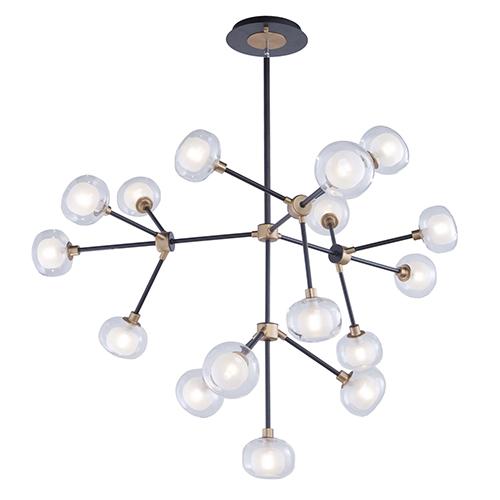 Grappolo Matte Black and Vintage Gold 16-Light LED Chandelier