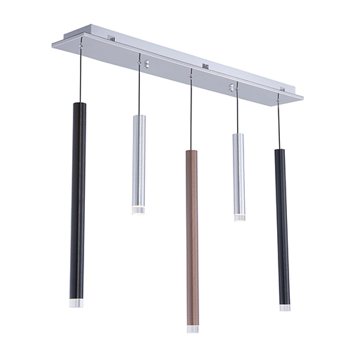 Galiano Black, Copper and Satin Aluminum Five-Light LED Mini Pendant