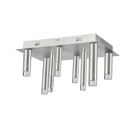 Galiano Satin Aluminum Eight-Light LED Flush Mount