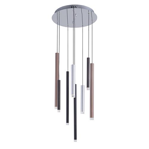 Galiano Black, Copper and Satin Aluminum Eight-Light LED Chandelier