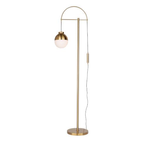 Cortina Brass and Opal Glass One-Light Floor Lamp