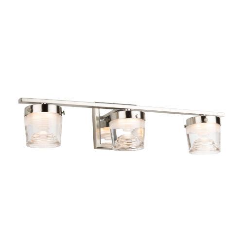 Newbury Brushed and Polished Nickel Three-Light LED Bath Vanity
