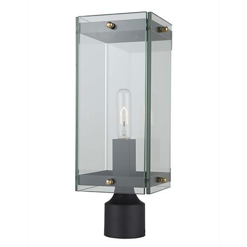 Bradgate Matte Black and Harvest Brass Seven-Inch One-Light Outdoor Post Light