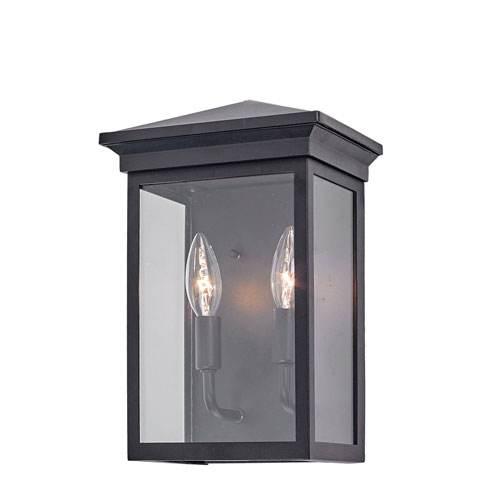 Gable Black Two-Light Outdoor 12-Inch Wall Sconce