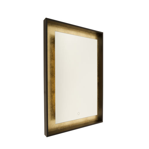 Reflections Oil Rubbed Bronze and Gold Leaf 32-Inch LED Wall Mirror