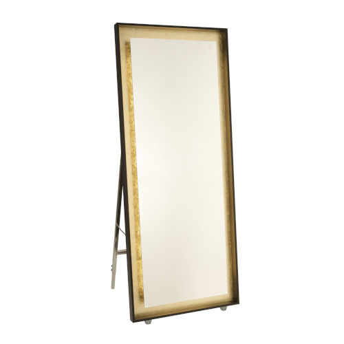 Reflections Oil Rubbed Bronze and Gold Leaf 67-Inch LED Floor Mirror