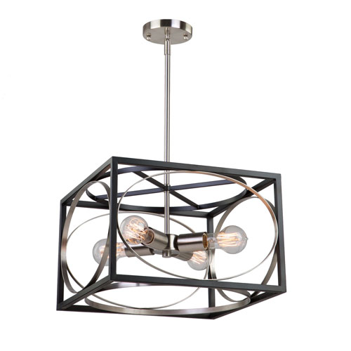 Corona Black and Polished Nickel Four-Light Chandelier