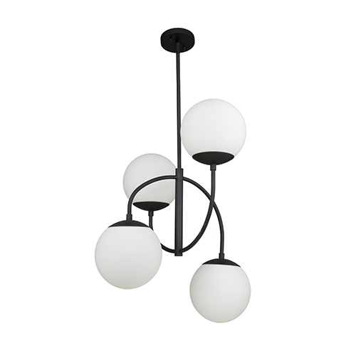 Moonglow Matte Black Four-Light Chandelier