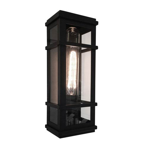 Granger Square Black 16-Inch One-Light Outdoor Wall Sconce