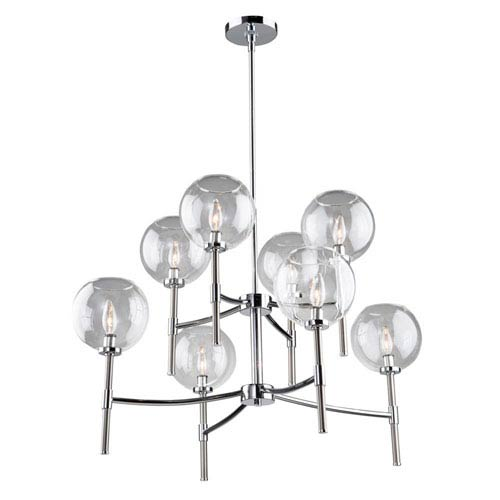Hamilton Chrome and Brushed Nickel Eight-Light Chandelier