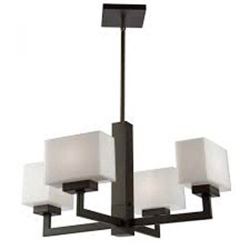 Cube Light Oil Rubbed Bronze 10-Inch Four-Light Chandelier