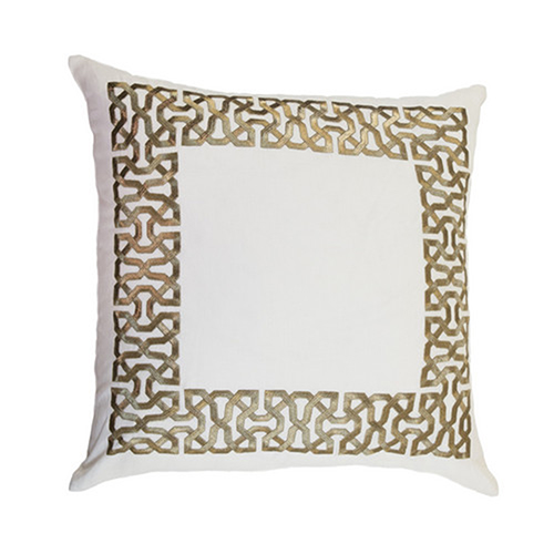 Symphony Zari Off White Pillow with Feather Fill