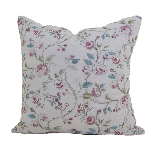 Bouquet White and Pink Floral 24 x 24 In. Throw Pillow