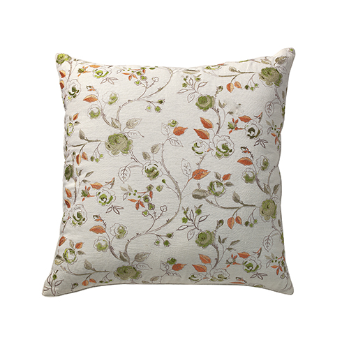Bouquet White and Green Floral 24 x 24 In. Throw Pillow