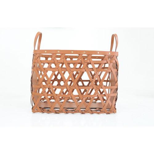 Aspen Saddle Small Leather Log Basket