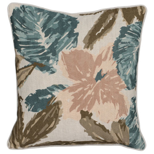 Angela Natural Green Blush and Blue Throw Pillow