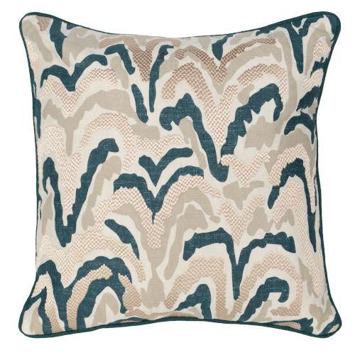 Carmen Natural and Green Throw Pillow