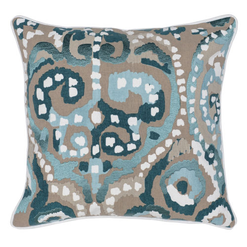 Carmen Blue Natural and Green Throw Pillow