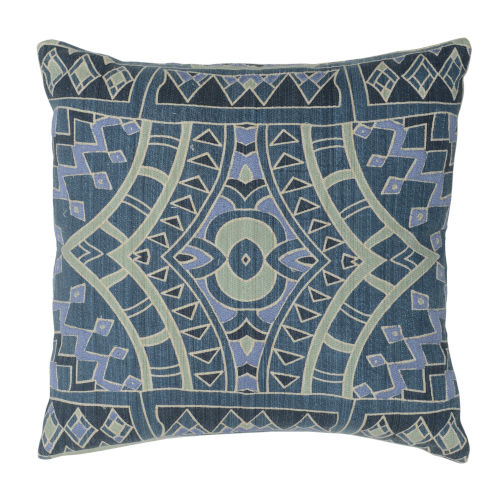 Brielle Blue Green and Natural Throw Pillow
