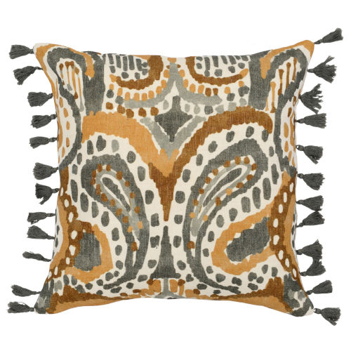 Lia Yellow Charcoal and Natural Throw Pillow