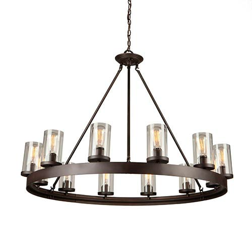 Melno Park Dark Chocolate 12-Light 41.75-Inch Wide Chandelier