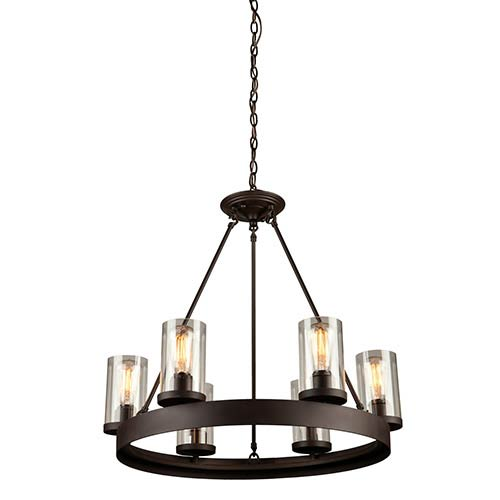 Melno Park Dark Chocolate Six-Light 26-Inch Wide Chandelier